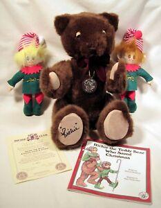 1994 DAKIN RICHIE TEDDY BEAR + 2 ELF Dolls, Christmas Book & Certificate