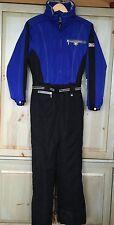 Vintage NILS Ski Snow Suit 1 Pc Women's Reflector Sz 8 Blue Black