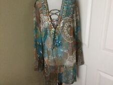 TALIA BENSON  RARE BEAUTIFUL Multi Clr Silk Beaded Tunic Laceup Coverup L  NEW