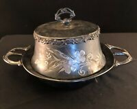 Victoria Quadrupled Silver Plated Domed Butter Dish Antique