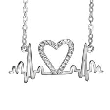 925 Sterling Silver Pulse Heartbeat Rhythm Heart CZ Zirconia Gems Charm Necklace