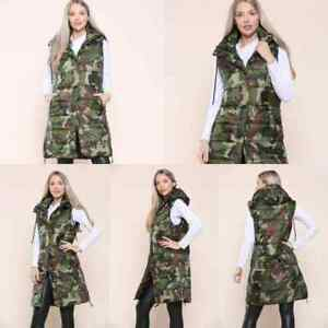 WOMEN'S CAMO LONG HOODED GILET LADIES QUILTED LONG SLEEVELESS JACKET BODYWARMER