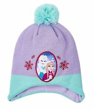 Girls Kids Official Licensed Disney Frozen Elsa & Anna Lilac Winter Hat