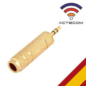 ACTECOM® ADAPTADOR JACK 6,3 A 3,5 MINIJACK CHAPADO ORO ESTEREO METALICO CONECTOR
