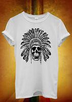Skull Indian Chief Native Festival Men Women Unisex T Shirt Tank Top Vest 805