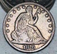 1876 Seated Liberty Half Dollar 50C CHOICE Centennial 90% Silver US Coin CC6634