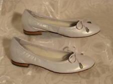 HÖGL Schleifen Ballerina 37 Voll-Leder Slipper Perl Weiß