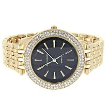 Classy Gold Finish Quartz Wrist Watch Unisex Blue Round Face Lab Diamond Accent