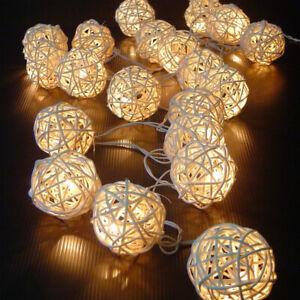 2M/4M Christmas Battery Operated Handcraft White Rattan Balls LED Fairy Lights
