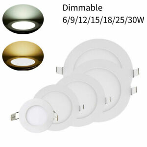 Dimmable Recessed Led Panel Light Ceiling Down Lights Lamp 6/12/18/30W 110V 220V