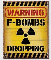 F Bombs Dropping Metal Tin Sign Humor Funny Home Bar Garage Wall Decor #2046