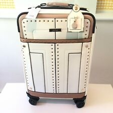 River Island NEW White Stud Small Four Wheel Suitcase Weekend Bag Cabin 717346
