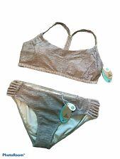NWT PRANA Adelita Top Laclair Bottoms Grey Active SUP Surf swimsuit Bikini Sz L