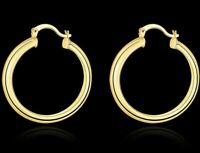 14k Yellow Gold Shiny Round Huggies Hoops Earrings 34mm French Lock ITALIAN MADE