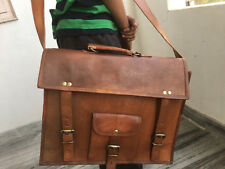 Retro Men's leather messenger shoulder laptop handmade brown vintage satchel bag