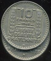 10 FRANCS  TURIN  1948 B  petite tete ( le B proche du listel)