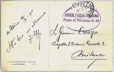 ITALY -  POSTAL HISTORY-  POSTCARD with RED CROSS postmark 1915