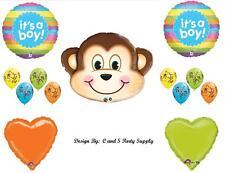 BABY BOY MONKEY RAINBOW Shower Balloons Decorations Supplies Jungle Mischevious