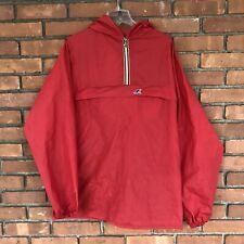 Vintage K WAY Packable Pullover LARGE Jacket Windbreaker Rain Coat 80s 90s Red