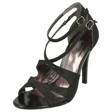 Ladies Black Glitzy Heeled Anne Michelle Wedding / Party Shoes L3412