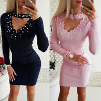 Women Sexy V-Neck Pearl Beading Long Sleeve Bodycon Lady Party Casual Mini Dress