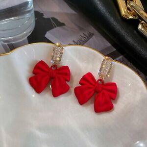 925 Silver Bow Heart Zircon Crystal Pearl Stud Earrings Dangle Women Jewelry