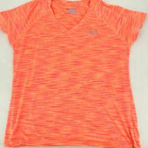 Womens Under Armour Heat Gear Semi - Fitted Athletic V Neck XL Orange Shirt