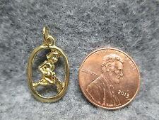 Zodiac Astrology Aquarius Water Bearer Gold Tone Oval Pendant Charm w/ Jump Ring