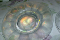 IMPERIAL WIDE PANEL WHITE CARNIVAL STRETCH GLASS iridescent SALAD PLATES 6  EXC