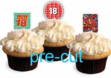 18th birthday party boys/girl X24 stand up cup cake toppers wafer paper *precut*