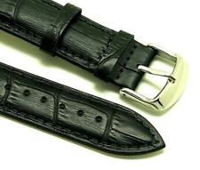 20mm Black Alligator Grain Leather Replacement Watch Band - Frederique Constant
