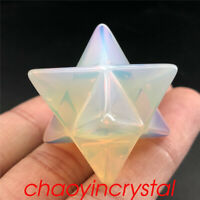 1.5''Opalite merkaba star skull quartz crystal skull gem carved healing 1pc