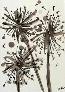 "Aceo art PRINT DANDELION flower by Lynne Kohler 2.5x3.5"""
