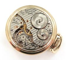 .1950 HAMILTON 992B 21J 16S 6ADJUSTS RRGRADE MONTGOMERY DIAL 10K GF POCKET WATCH