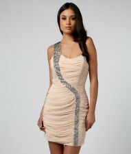 Lipsy one shoulder sequin drape Dress nude Size 8 BNWT