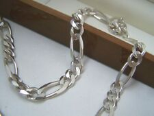 "SOLID STERLING SILVER MENS FLAT CURB FIGARO CHUNKY 22"" CHAIN NECKLACE HEAVY 55.7"