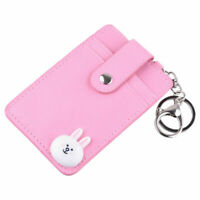 PU Leather ID Badge Holder Credit Card Holder Pocket Case With Keychain Gifts