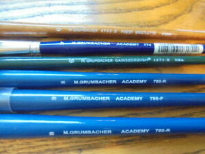 M.Grumbacher Academy art brushes lot of 6
