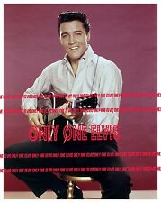 ELVIS PRESLEY in Publicity Pose 1962 8x10 Photo Playing Guitar on Stool