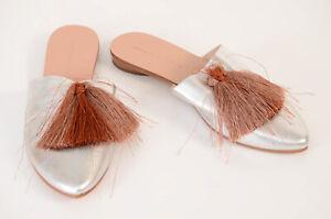 Loeffler Randall silver 7 metallic tassel trim slip on mule flat shoe NEW $295