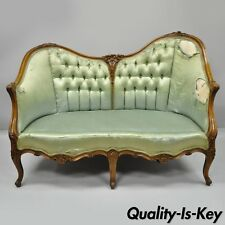 Antique French Louis Xv Style Carved Walnut Double Hump Back Settee Loveseat