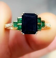 2.38ct Natural Black Sapphire Emerald Diamond Solid Yellow 9K Gold Ring Cocktail