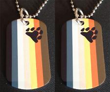 Rainbow Gay/Lesbian Bear Paw Pride Flag 2-Sided Dog Tag Necklace / Keychain