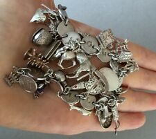 UNUSUAL VINTAGE CHUNKY STERLING SILVER CHARM BRACELET 27 CHARMS
