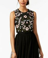 $199 ADRIANNA PAPELL WOMEN'S BLACK EMBROIDERED BEADED CROPPED FORMAL TOP SIZE 10