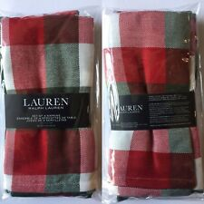 "🎄Ralph Lauren Napkins 🎄Red Green White Checkered🎄20 x 20"" 🌟Set Of Four🌟"