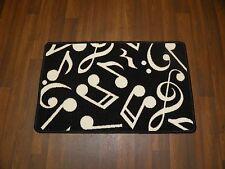 MUSIC NOTES BLACK&WHITE NON SLIP NEW MATS/RUGS SCHOOL/HOME 50CMX80CM BARGAINS
