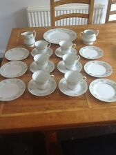Contemporary white patterned bone china Noritake green hill tea set