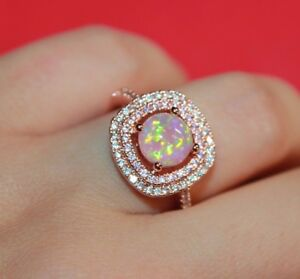 pink fire opal Cz ring 8.25 gemstone rose gold filled jewelry engagement band N
