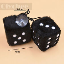 Black Fuzzy Dice Car Mirror Hanging String White Dots Cute Doll Christmas Gift